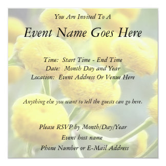 Tansy Flowers 5.25x5.25 Square Paper Invitation Card