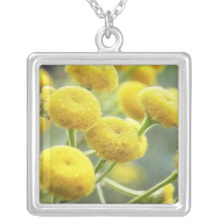 Tansy Flowers Square Pendant Necklace