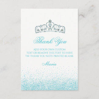 Tantalizing Teal Sparkle Thank You Cards