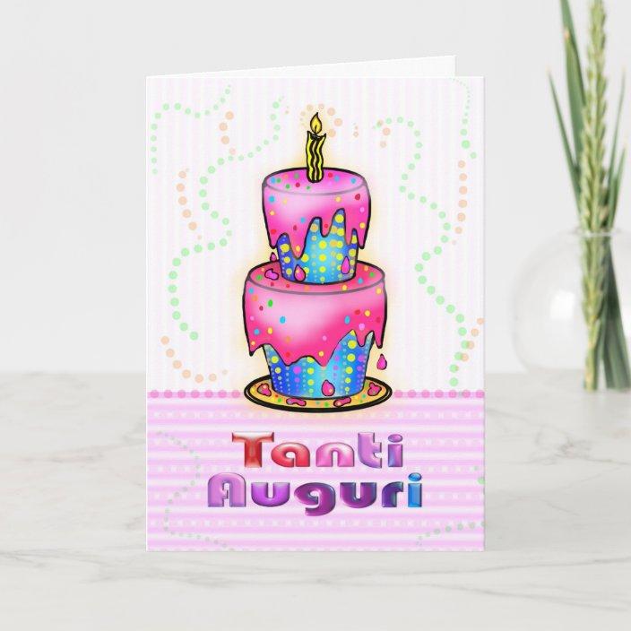 Swell Tanti Auguri Italian Happy Birthday Cake Pink Blue Card Zazzle Com Funny Birthday Cards Online Elaedamsfinfo