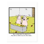 Tanto comida: Dibujo animado del cerdo Postal