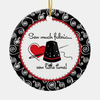 Tanto hilado adorno navideño redondo de cerámica