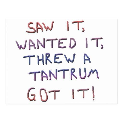 Tantrum copy postcards
