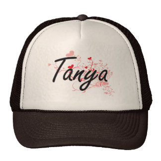 Tanya Artistic Name Design with Hearts Trucker Hat