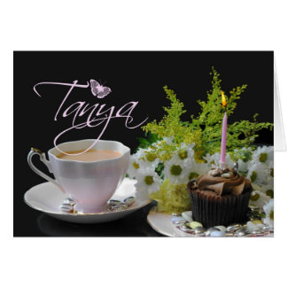 Tanya Birthday card, pink with buttefly and flower Greeting Card