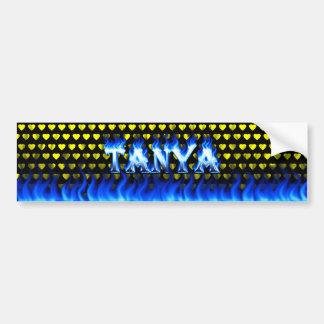 Tanya blue fire and flames bumper sticker design.