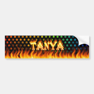 Tanya real fire and flames bumper sticker design.