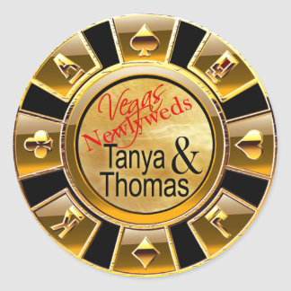 Tanya & Thomas Las Vegas Casino Chip black/gold Classic Round Sticker
