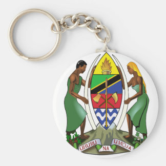 Tanzania coat of arms basic round button keychain