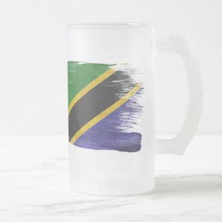 Tanzania Flag Frosted Glass Beer Mug