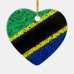 Tanzania Flag glitter ornament