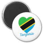 Tanzania Flag Heart Fridge Magnets