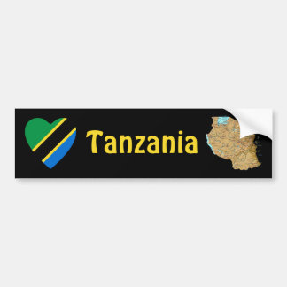Tanzania Flag Heart + Map Bumper Sticker