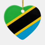 Tanzania Flag Heart Ornament