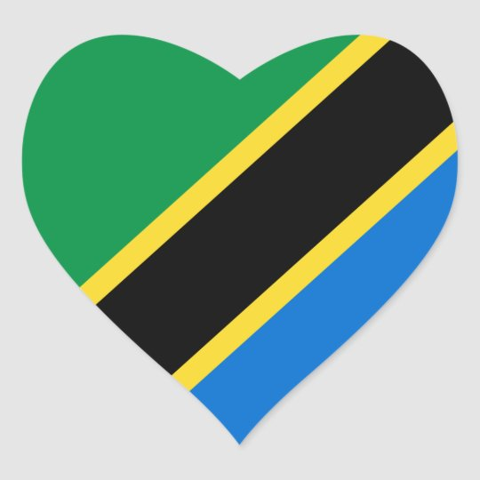 Tanzania Flag Heart Sticker