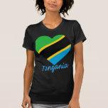 Tanzania Flag Heart Tee Shirt
