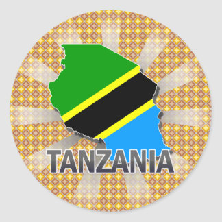 Tanzania Flag Map 2.0 Classic Round Sticker