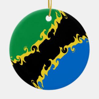 Tanzania Gnarly Flag Christmas Tree Ornaments