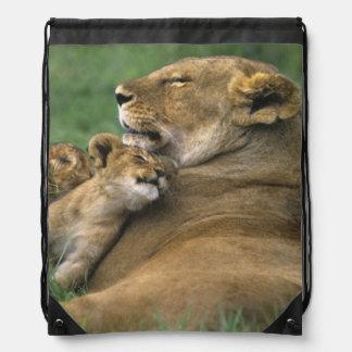 Tanzania, Ngorongoro Crater. African lion mother Drawstring Bag