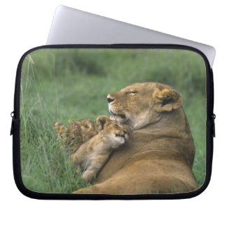Tanzania, Ngorongoro Crater. African lion mother Laptop Computer Sleeve