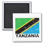 Tanzania Vintage Flag 2 Inch Square Magnet