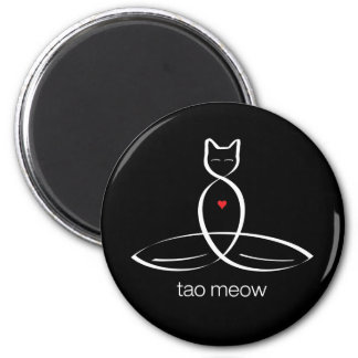 Tao Meow - Regular style text. 2 Inch Round Magnet