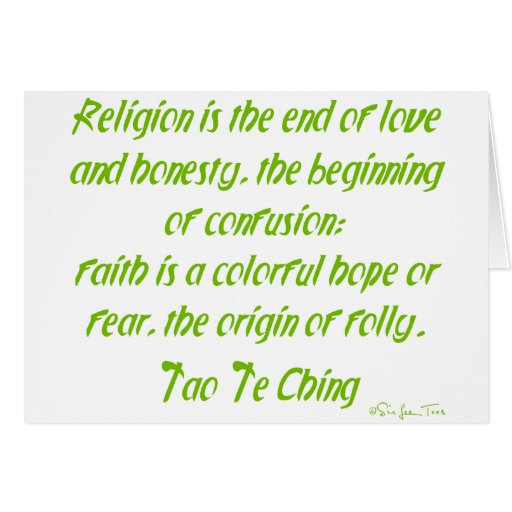 Tao Te Ching On Religion Greeting Card