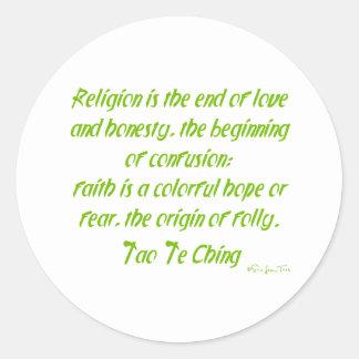 Tao Te Ching On Religion Classic Round Sticker