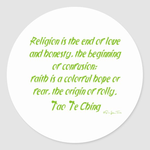 Tao Te Ching On Religion Sticker