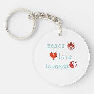 Taoism del amor de la paz llavero redondo acrílico a doble cara