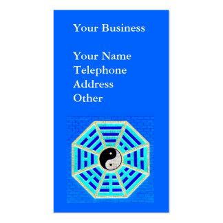 Taoist Octagonal Symbol on Blue Background Business Card