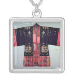 Taoist Robe With Tai Chi Yin and Yang Square Pendant Necklace
