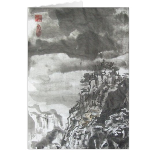 Taoist Temple in Storm Chinese Landscape Card
