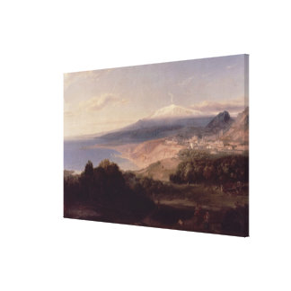 Taormina and Mount Etna, c.1840 (oil on canvas) Stretched Canvas Prints
