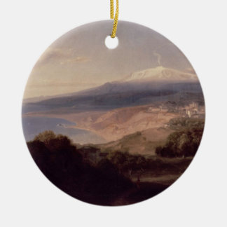 Taormina and Mount Etna, c.1840 (oil on canvas) Ceramic Ornament