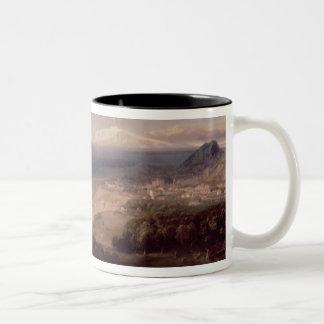 Taormina and Mount Etna, c.1840 (oil on canvas) Two-Tone Coffee Mug