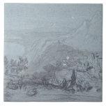 """Taormina, de """"vistas de Sicilia"""" (tiza y aguazo Azulejos Cerámicos"""