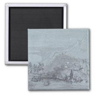 """Taormina, de """"vistas de Sicilia"""" (tiza y aguazo Imán Cuadrado"""