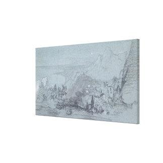 """Taormina, de """"vistas de Sicilia"""" (tiza y aguazo Impresión En Lona Estirada"""
