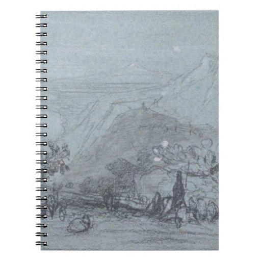 """Taormina, de """"vistas de Sicilia"""" (tiza y aguazo Libretas"""