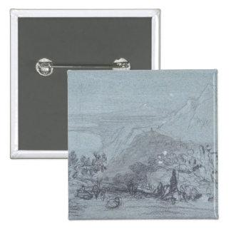 """Taormina, de """"vistas de Sicilia"""" (tiza y aguazo Pin Cuadrada 5 Cm"""
