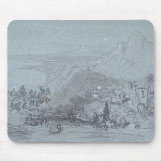 "Taormina, de ""vistas de Sicilia"" (tiza y aguazo Tapetes De Raton"