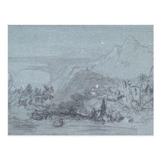 """Taormina, de """"vistas de Sicilia"""" (tiza y aguazo Tarjetas Postales"""