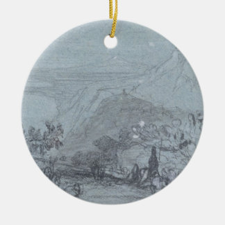 Taormina, from 'Views of Sicily' (chalk & gouache Ceramic Ornament
