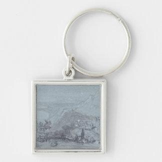 Taormina, from 'Views of Sicily' (chalk & gouache Keychain