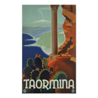 Taormina Sicily Italy VintageTravel Poster