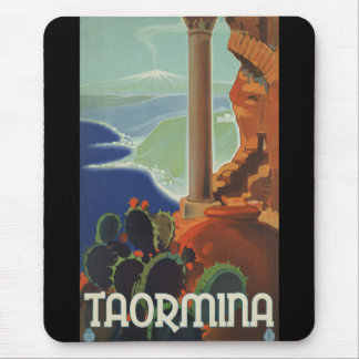 Taormina Sicily Italy VintageTravel Poster Mouse Pads