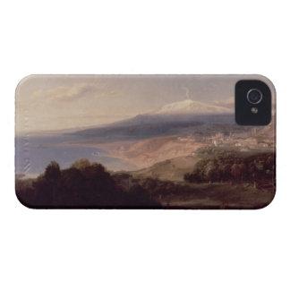 Taormina y el monte Etna, c.1840 (aceite en lona) iPhone 4 Carcasas