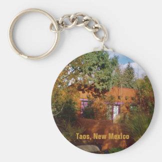 Taos Adobe Casita in Morning Sunlight Basic Round Button Keychain
