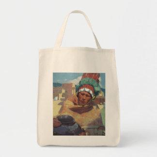 Taos Native American Indian Portrait, Blumenschein Grocery Tote Bag